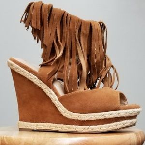 """Mark """"Here to Sway"""" wedges women's 8 fringe shoes"""